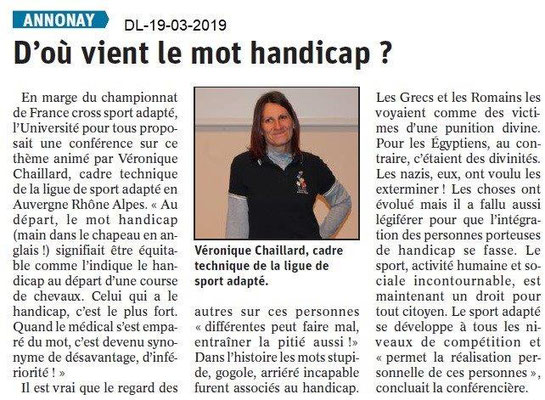 Dauphiné Libéré du 19-03-2019- Explication handicap-Annonay