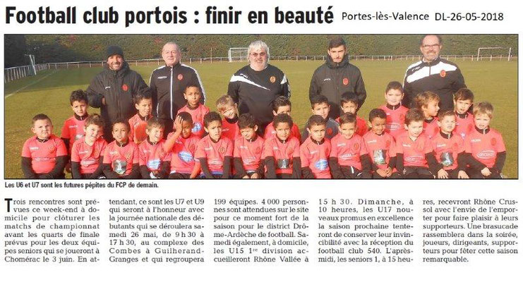 Dauphiné Libéré du 26-05-2018- Foot Portois