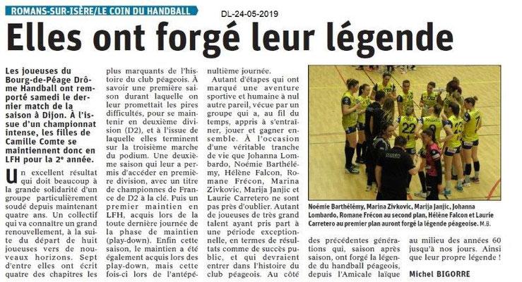 Le Dauphiné Libéré du 24-05-2019- Handball Bourg de Péage