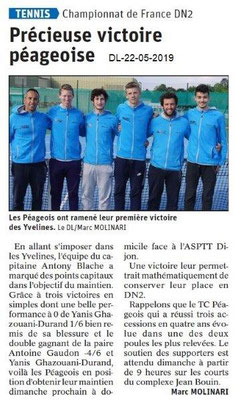 Le Dauphiné Libéré du 22-05-2019- Tennis péageois