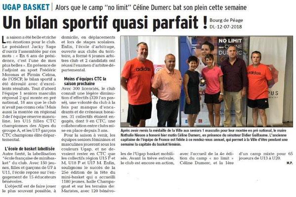 Dauphiné Libéré du 12-07-2018- UGAP Basket à Bourg de Péage