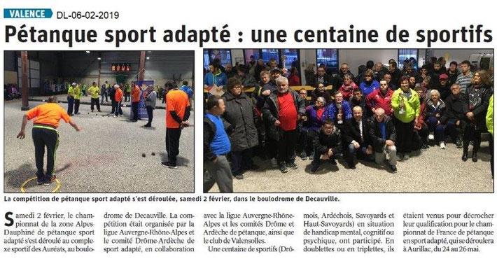 Dauphiné Libéré du 06-02-2019- Pétanque avec le Sport-Adapté