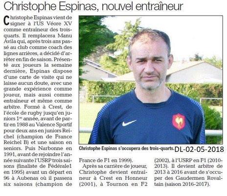 Dauphiné Libéré du 02-05-2018-Nouvel entraîneur Véore XV-Portes-lès-Valence