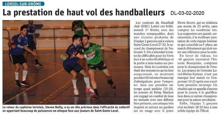 Le Dauphiné Libéré du 03-02-2020- Handball Loriol