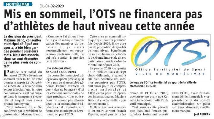 Le Dauphiné Libéré du 01-02-2020- OTS Montélimar