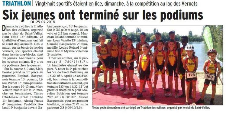 Dauphiné Libéré du 25-07-2018- Champions à Annonay