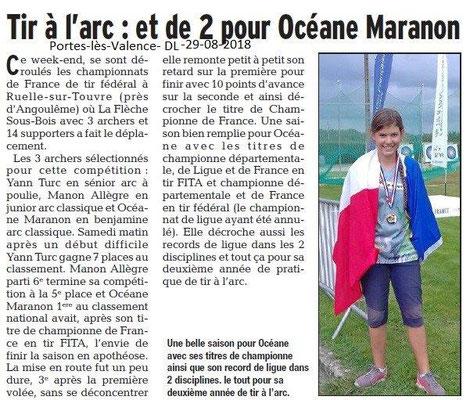 Dauphiné Libéré du 29-08-2018- Bravo à Océane championnne de France