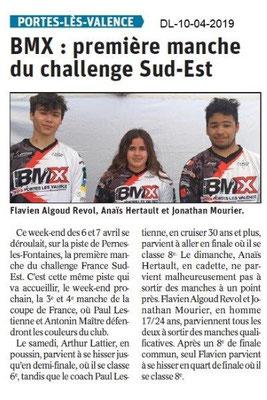 Le Dauphiné Libéré du 10-04-2019- BMX PLV
