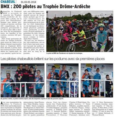 Dauphiné Libéré du 03-05-2018-BMX Chabeuil Trophée Drôme-Ardèche