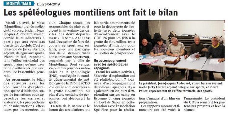 Le Dauphiné Libéré du 23-04-2019- Les spéléologues montiliens