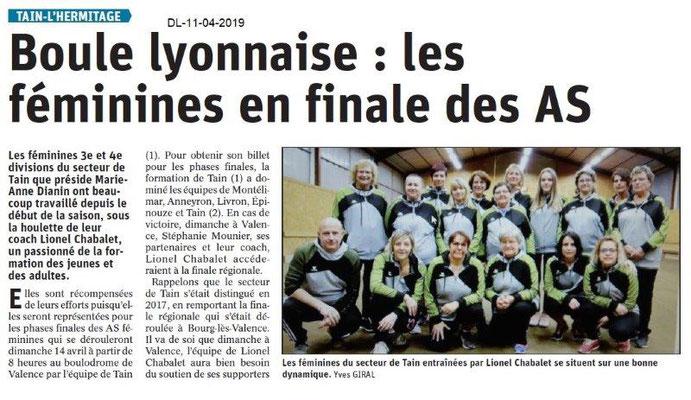 Le Dauphiné Libéré du 11-04-2019- Boule lyonnaise féminine de Tain