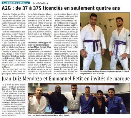Le Dauphiné Libéré du 15-04-2019- Judo à Guilherand