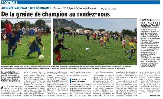 Dauphiné Libéré du 27-05-2018- Journée Nationale de Foot- Guilherand-Granges