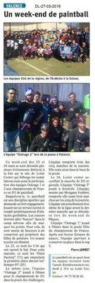 Dauphiné Libéré du 27-03-2019- Paintball à Valence