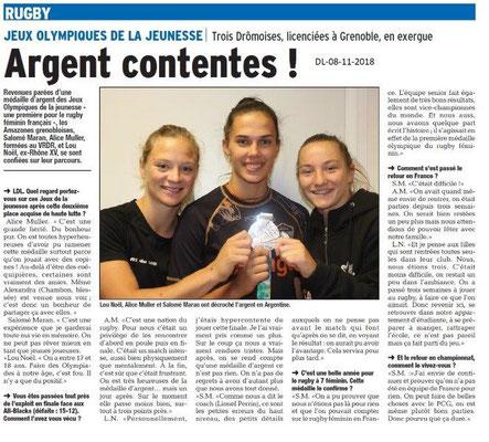 Dauphiné Libéré du 09-11-2018-  Rugby féminin- Olympiades de la Jeunnesse 2018