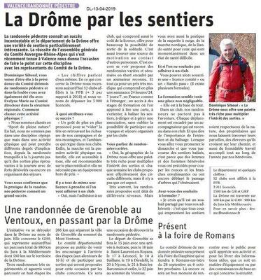 Le Dauphiné Libéré du 13-04-2019- Randonnée en Drôme