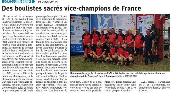 Dauphiné libéré du 08-09-2019- Les boulistes loriolais vice champion de France