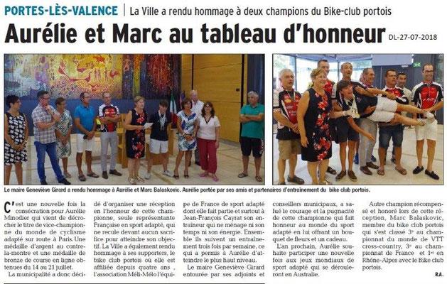 Dauphiné Libéré du 27-07-2018- Aurélie reçu en Mairie