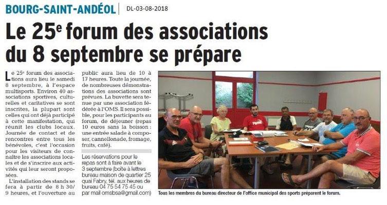 Dauphiné Libéré du 03-08-2018- Préparation du Forum avec l'OMS de BSA