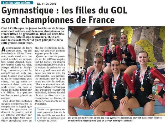 Dauphiné Libéré du 11-06-2019- Les filles du GOL de Loriol