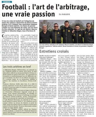 Dauphiné Libéré du 15-02-2019- L'art de l'arbitrageRugby à Chabeuil