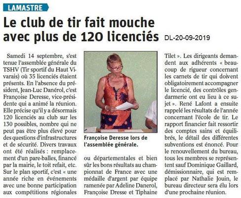 Dauphiné libéré du 20-09-2019- Club de Tir de Lamastre