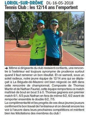 Dauphiné Libéré du 16-05-2018- Tennis Loriolais