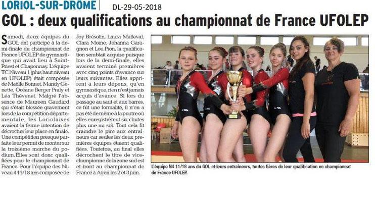Dauphiné libéré du 29-05-2018-GOL GYM Championnat de France UFOLEP- LORIOL