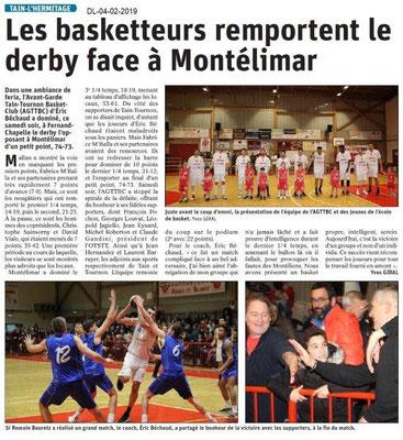 Dauphiné Libéré du 04-02-2019- Les basketteurs de Tain