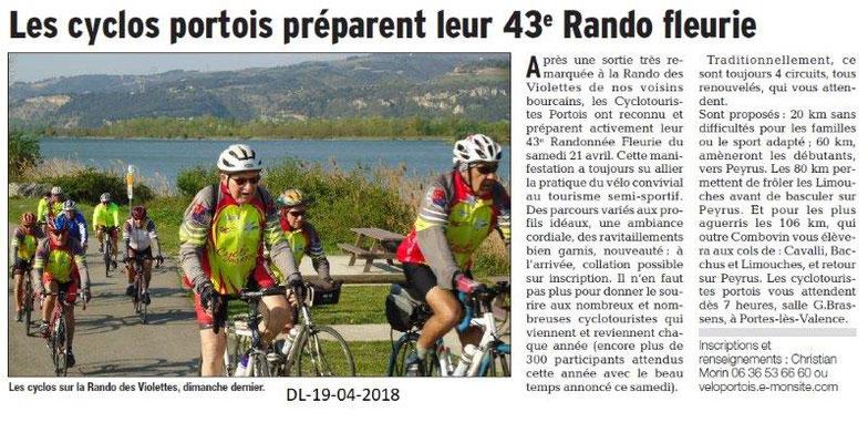 Dauphiné Libéré du 19-04-2018-Cyclos Portois