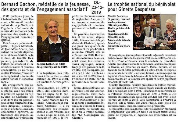 Dauphiné Libéré du 23-12-2019- Chabeuil