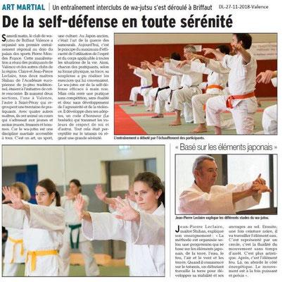 Dauphiné Libéré du 27-11-2018-  Self-défense à Valence