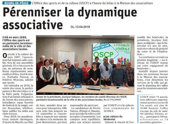 Le Dauphiné Libéré du 13-04-2019- AG OSCPéageois
