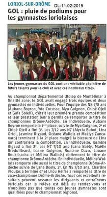 Dauphiné Libéré du 11-02-2019- Gymnastes loriolaises