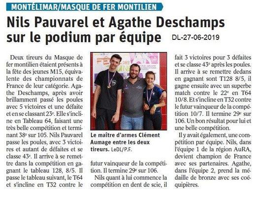 Dauphiné Libéré du 27-06-2019- Masque de fer Montilien