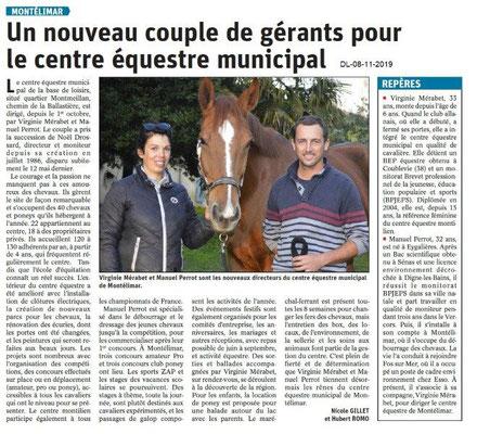 Le Dauphiné Libéré du 08-11-2019- Centre équestre de Montélimar