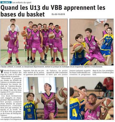 Dauphiné libéré du 02-10-2019- Apprentissage du basket à Valence.