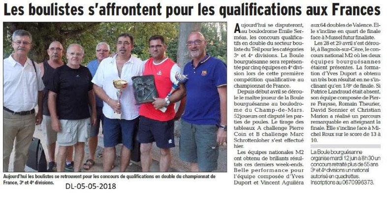 Dauphiné Libéré du 05-05-2018-Les boulistes de Bourg Saint-Andéol