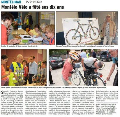 Dauphiné Libéré du 04-05-2018- Montélo Vélo 10 ans- Montélimar