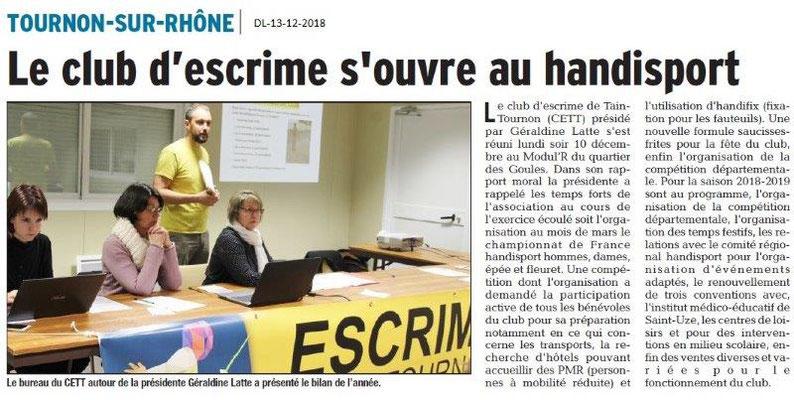 Dauphiné Libéré du 13-12-2018- Club d'Escrime Tain-tournon