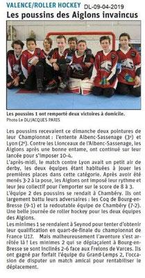 Le Dauphiné Libéré du 09-04-2019- Roller hokey de Valence