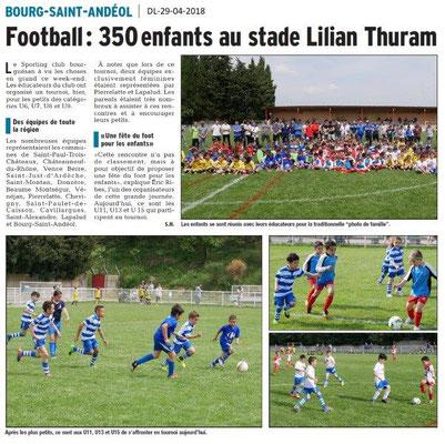 Dauphiné Libéré du 29-04-2018-Tournoi Foot-Bourg Saint-Andéol