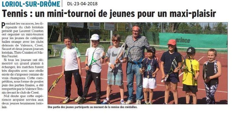 Dauphiné Libéré du 23-04-2018-Tennis-Loriol sur Drôme