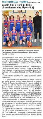 Le Dauphiné libéré du 28-05-2019- Basket Tain-Tournon