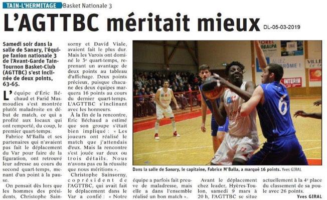 Le Dauphiné Libéré du 05-03-2019-Basket de Tain l'Hermitage