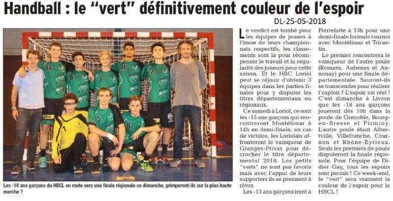Dauphiné Libéré du 25-05-2018-Handball Loriol