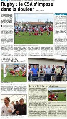 Dauphiné libéré du 23-09-2019- Rugby d'Annonay