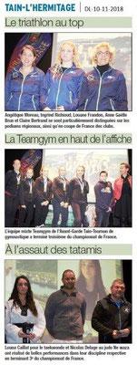 Dauphiné Libéré du 10-11-2018- Les forts en sport suite Tain-l'Hermitage
