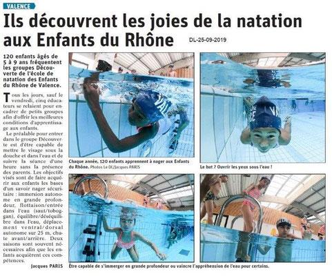 Dauphiné libéré du 25-09-2019- Ecole de natation de Valence