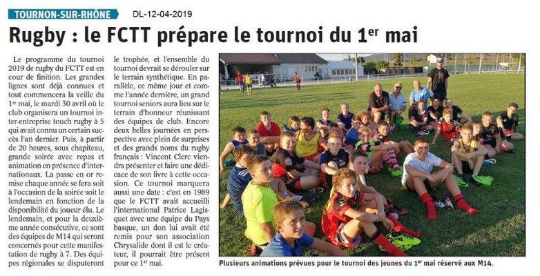 Le Dauphiné Libéré du 12-04-2019- FCTT Rugby